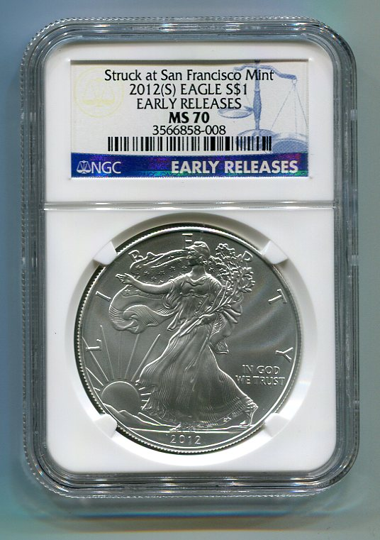 2011 S American Silver Eagle NGC MS 70 Early Releases Struck San Francisco Mint